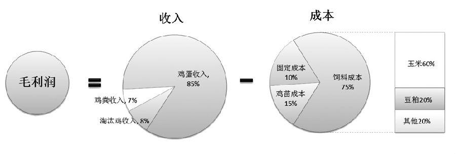 收入方面,结合企业饲养数据,鸡蛋约占蛋鸡养殖总收入的85%,淘汰鸡以及鸡粪等销售收入约占总收入的15%,通常蛋鸡养殖场会将淘汰鸡的收入与鸡苗成本相抵计算。